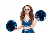 happy cheerleader girl in blue uniform and 3d glasses with pompoms isolated on white