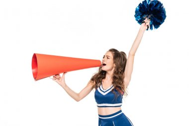 cheerleader girl in blue uniform with pompom using orange loudspeaker isolated on white
