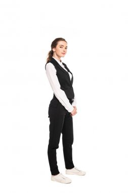 full length view of young waitress in formal wear isolated on white