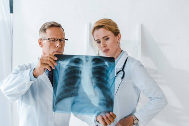 Doctor in glasses holding x-ray near attractive coworker stock vector