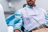 Fotografia vista cropped del dentista in guanti di lattice tenendo i denti modello vicino al paziente