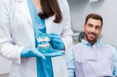 cropped view of dentist holding teeth model and standing near happy man