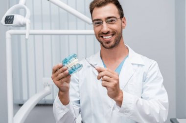 cheerful dentist in glasses holding dental instrument and tooth model in hands