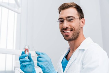 handsome bearded dentist holding dental instrument and tooth model while smiling in clinic