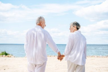 Back view of senior couple in white shirts holding hands and looking at each other at beach stock vector