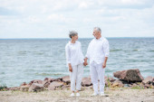 full length view of senior couple holding hands and looking at each other at beach