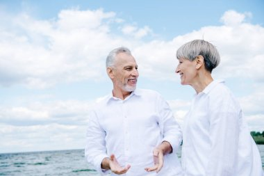Happy smiling senior couple in white shirts looking at each other under blue sky stock vector