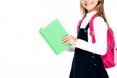 Photo cropped view of smiling schoolgirl holding book isolated on white