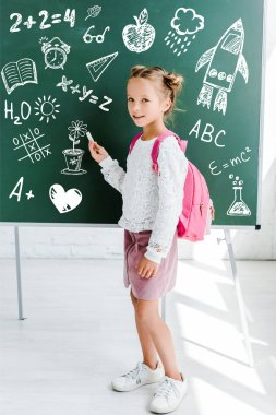 Happy kid standing with backpack and holding chalk near drawing on green chalkboard stock vector