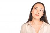 fiatal, töprengő ázsiai nő elnézett elszigetelt fehér