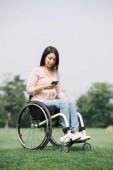 Fotografie hübsche behinderte Frau im Rollstuhl mit dem Smartphone, während sie im Park ruht