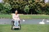 Junge behinderte Frau blickt in Kamera, während sie im Rollstuhl am Teich mit weißen Schwänen sitzt