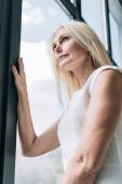 pohled na elegantní blondýnu s nízkým úhlem pohledu přes okno