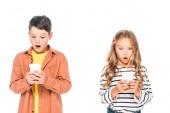 Front View sokkolta a gyermekek okostelefonok elszigetelt fehér