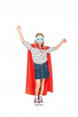 full length view of kid in mask and hero cloak dancing isolated on white