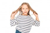 front view of smiling kid in casual outfit isolated on white