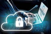 částečný pohled na afrického amerického podnikatele používajícího notebook v autě s kybernetickou bezpečnostní ilustrací