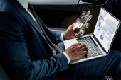 Fotografie cropped view of african american businessman using laptop and smartphone in car with internet security illustration