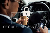 Fotografie back view of african american businessman using smartphone and drinking coffee in car with secure payment illustration