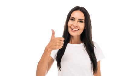 Happy woman showing thumb up isolated on white stock vector