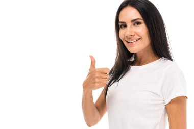 Happy woman showing thumb up and smiling isolated on white stock vector