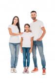 šťastná rodina stojí spolu izolované na bílém