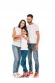 happy family hugging while standing isolated on white