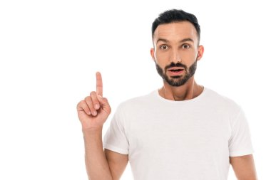 Shocked and bearded man pointing with finger isolated on white stock vector