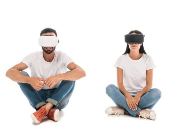 Happy man sitting near woman while using virtual reality headset on white stock vector