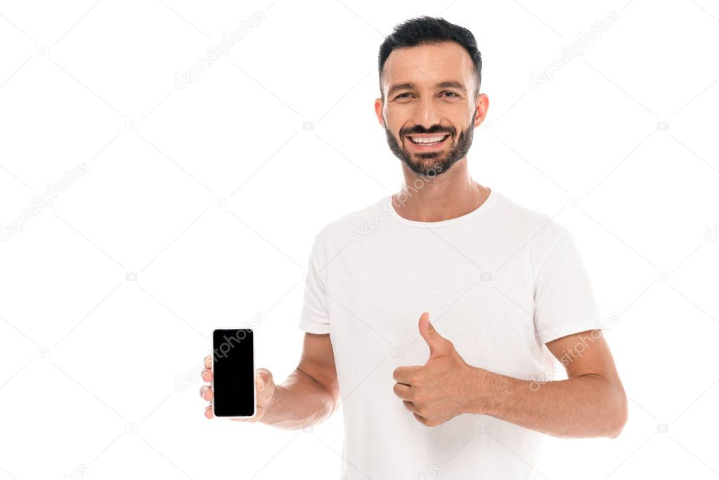 Cheerful man showing thumb up and holding smartphone with blank screen isolated on white stock vector
