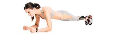 panoramic shot of disabled sportswoman standing in plank isolated on white