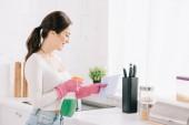 veselá hospodyňka postřikovací prací prášek od sprej láhev na hadru v kuchyni
