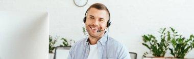 Panoramic shot of happy operator in brokers agency stock vector