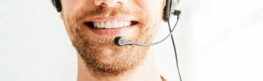 Panoramic shot of bearded broker in headset smiling in office stock vector
