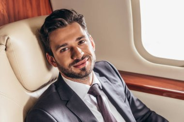 Handsome businessman in suit smiling and looking at camera in private plane stock vector