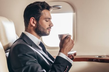 Side view of handsome businessman in suit holding cup of coffee in private plane stock vector
