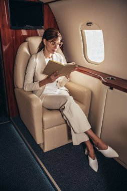 Attractive businesswoman in suit reading book in private plane stock vector