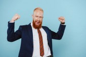 cheerful bearded businessman in suit celebrating and yelling isolated on blue