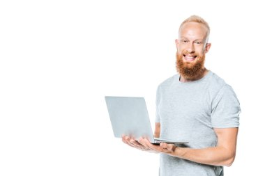 Cheerful bearded man holding laptop, isolated on white stock vector