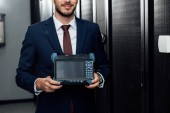 Photo cropped view of happy businessman holding reflectometer in server room