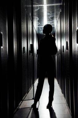 Silhouette of businesswoman standing in data center stock vector