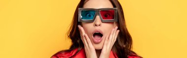 Website header of surprised woman in 3d glasses isolated on yellow stock vector