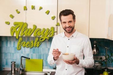 Handsome man smiling at camera while eating cereals in kitchen, breakfast always fresh illustration stock vector