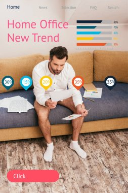 Freelancer in panties and shirt looking at documents with charts on sofa, home office new trend illustration stock vector