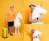 Collage eines glücklichen Mannes mit Einkaufstasche in der Nähe von Steinbock-Modell auf gelb