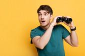 pohledný šokovaný muž drží dalekohled na žluté
