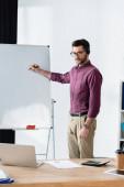 junger Geschäftsmann hält Filzstift in der Nähe von Flipchart, während er Videokonferenz am Laptop hat
