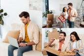 Collage eines Mannes, der am Laptop arbeitet, Freundin mit Champagnerglas im neuen Haus umarmt und Pizza hält