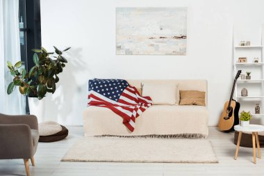 Interior of living room with american flag on couch