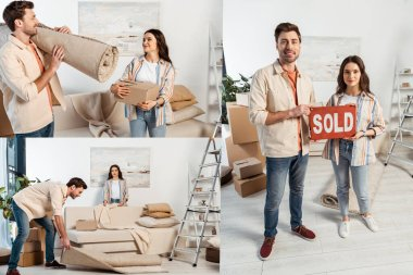 Collage of young couple holding nameplate with sold lettering while moving in living room